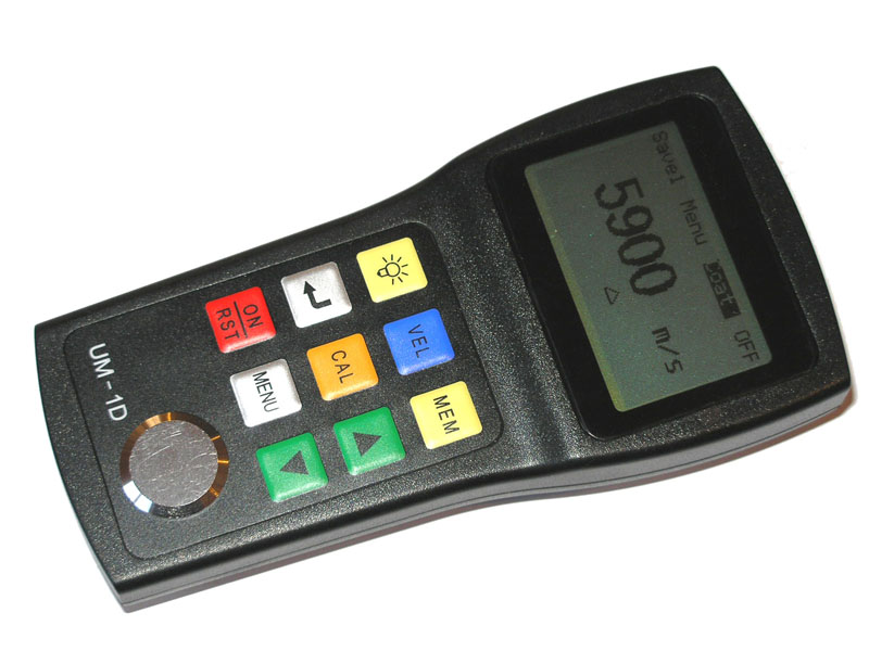 Thru-Paint Thickness Gauge with both mm and inch displays, 0.001 inch resolution.